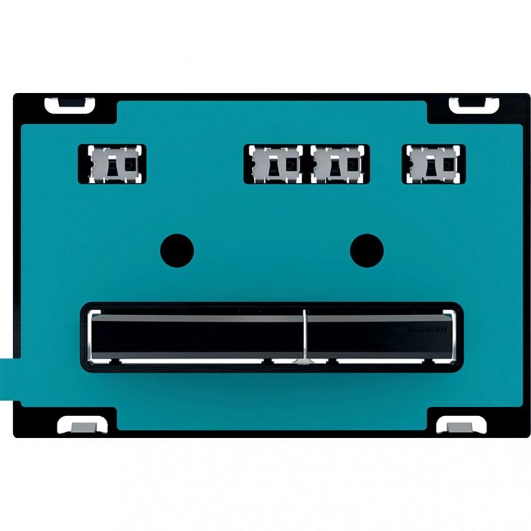 Клавиша смыва Geberit Sigma50, для двойного смыва, цвет черный хромированный с индивидуальной вставкой