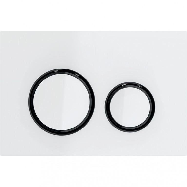 Клавиша смыва Geberit Sigma21, двойной смыв, цвет металлический черный хромированный и белое стекло
