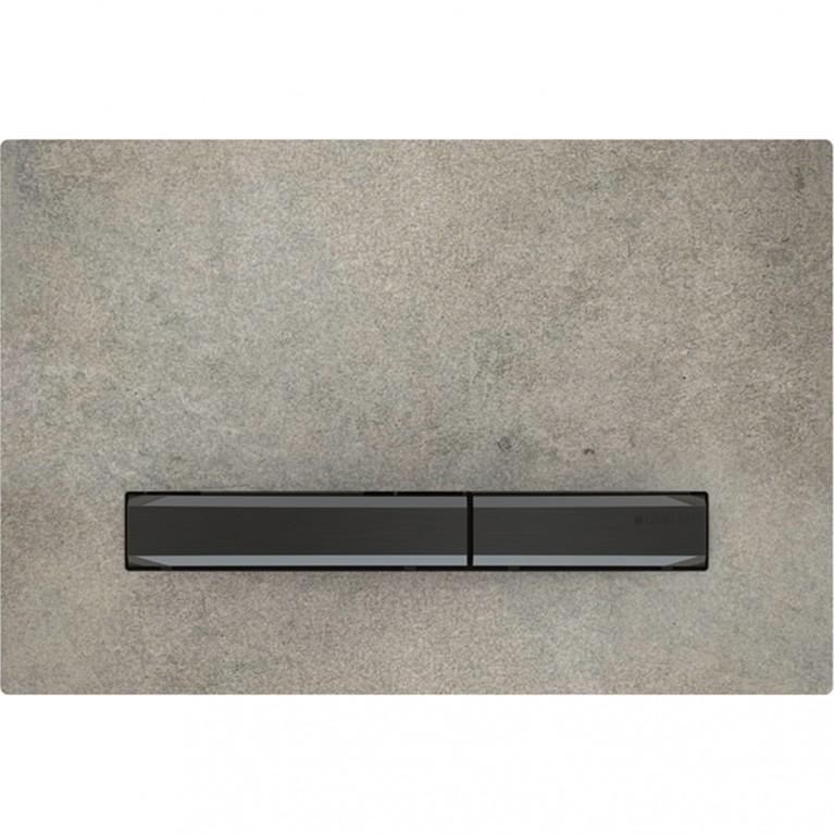 Клавиша смыва Geberit Sigma50, для двойного смыва, цвет черный хромированный и керамика под бетон