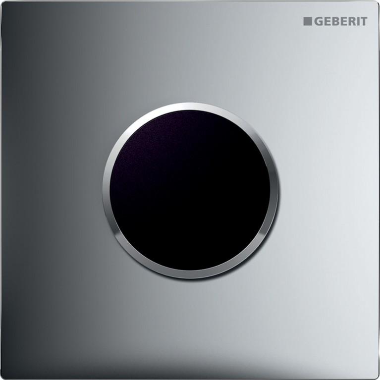 Система электронного управления смывом писсуара Geberit, питание от сети, защитная крышка тип 10, хром матовый