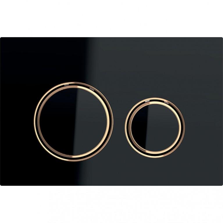 Смывная клавиша Geberit Sigma21 металл и стекло, двойной смыв, цвет красное золото и черный