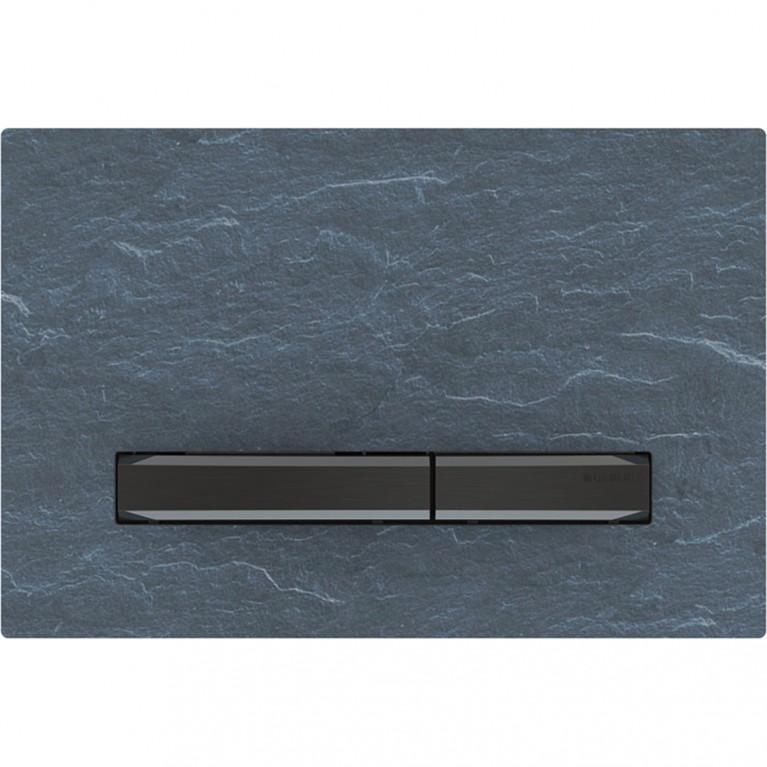 Смывная клавиша Geberit Sigma50 двойной смыв, металл черный хромированный и натуральный камень Mustang
