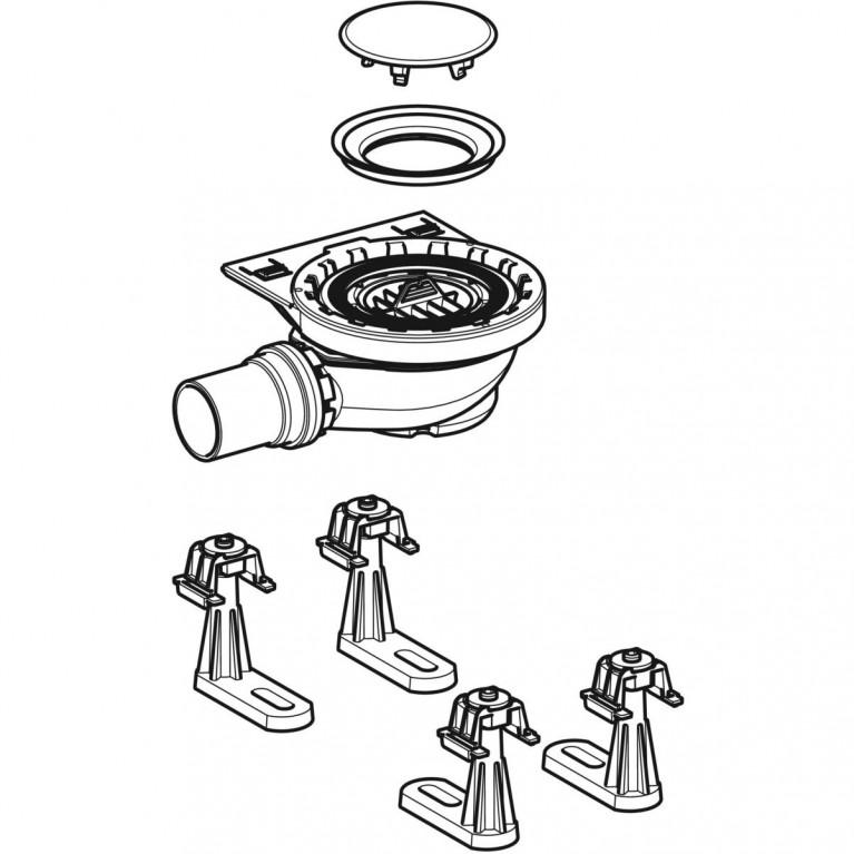 Сифон для душевых поддонов Geberit с четырьмя ножками, для душевого поддона Setaplano, высота гидрозатвора 50 мм 154.010.00.1, фото 2