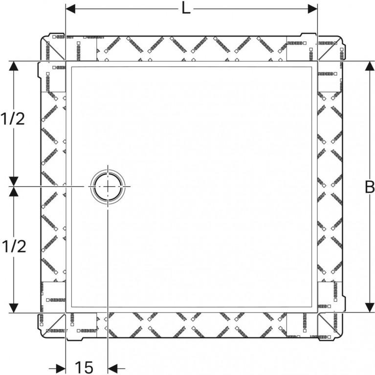 Поверхность для душевой зоны Geberit Setaplano, защита от скольжения, 90х90 см 154.270.11.1, фото 3