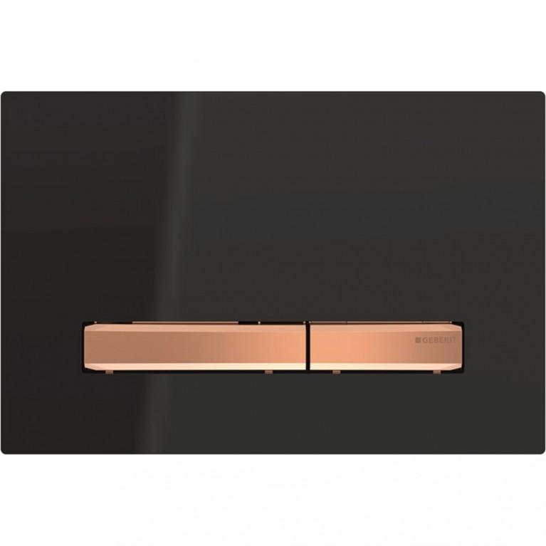 Клавиша смыва Geberit Sigma50, двойной смыв, цвет металлический красное золото и черный
