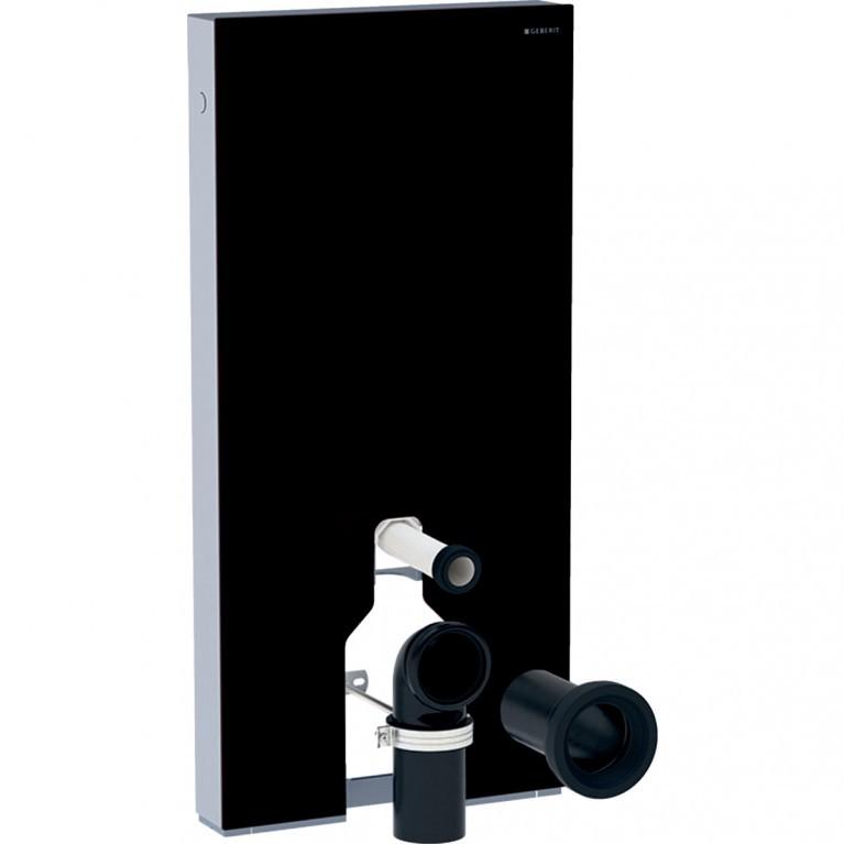 Сантехнический модуль Geberit Monolith Plus для напольного унитаза, 101 см, черное стекло, алюминий черный хром.