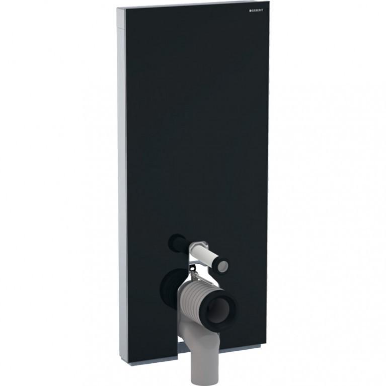Сантехнический модуль Geberit Monolith Plus для напольного унитаза, 114 см, стекло черное, алюминий черный хром.