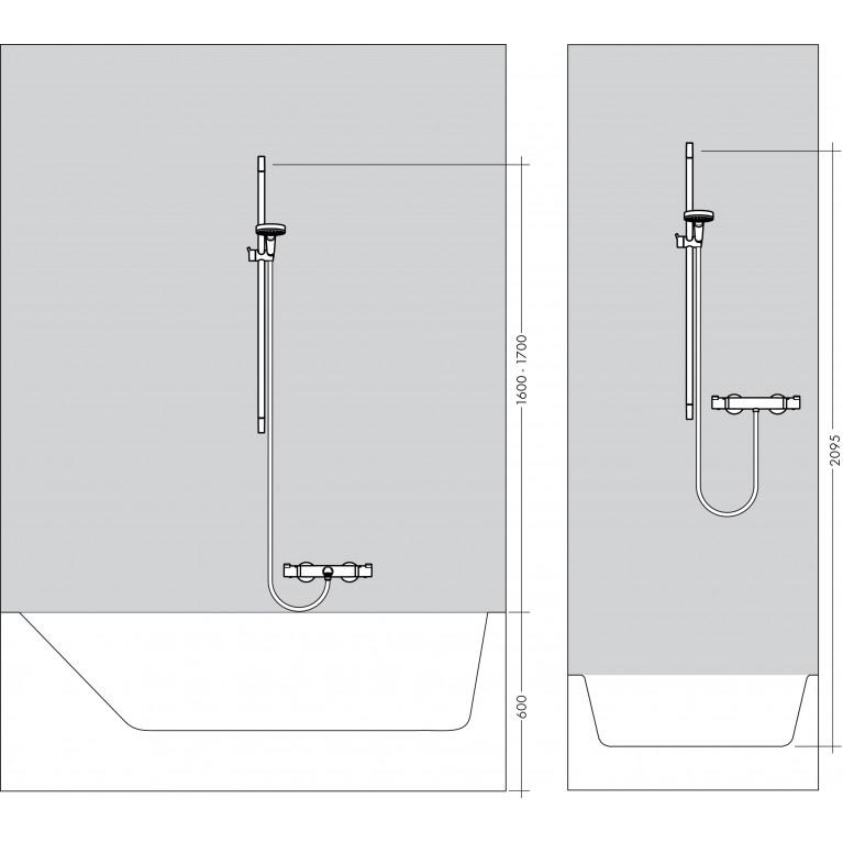 Unica Душевая штанга S Puro 90 см со шлангом (шлиф. черный хром) 28631340, фото 3