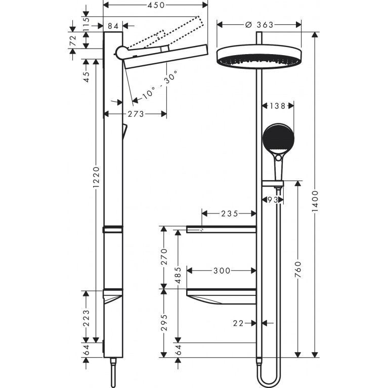 Rainfinity Showerpipe Душевая система 360 1jet скрытого монтажа, хром 26842000, фото 3