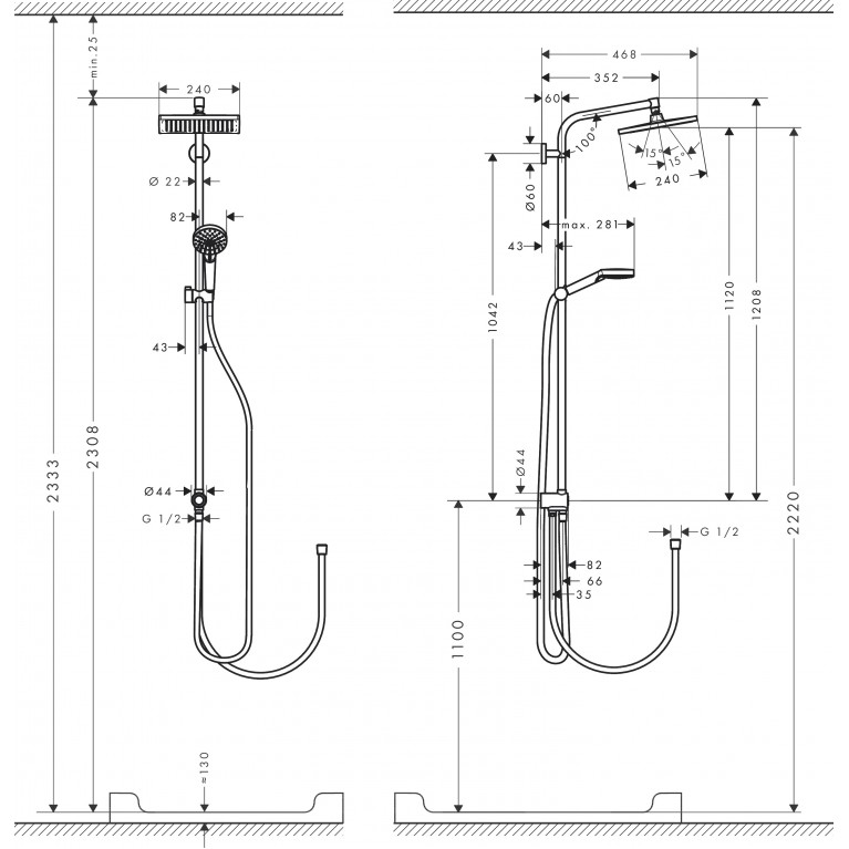 Crometta E Showerpipe 240 1jet Душевая система EcoSmart Reno 27289000, фото 2