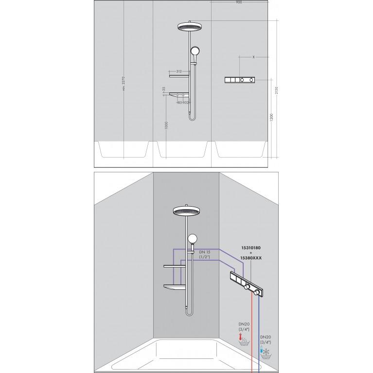 Rainfinity Showerpipe Душевая система 360 1jet скрытого монтажа, хром 26842000, фото 4