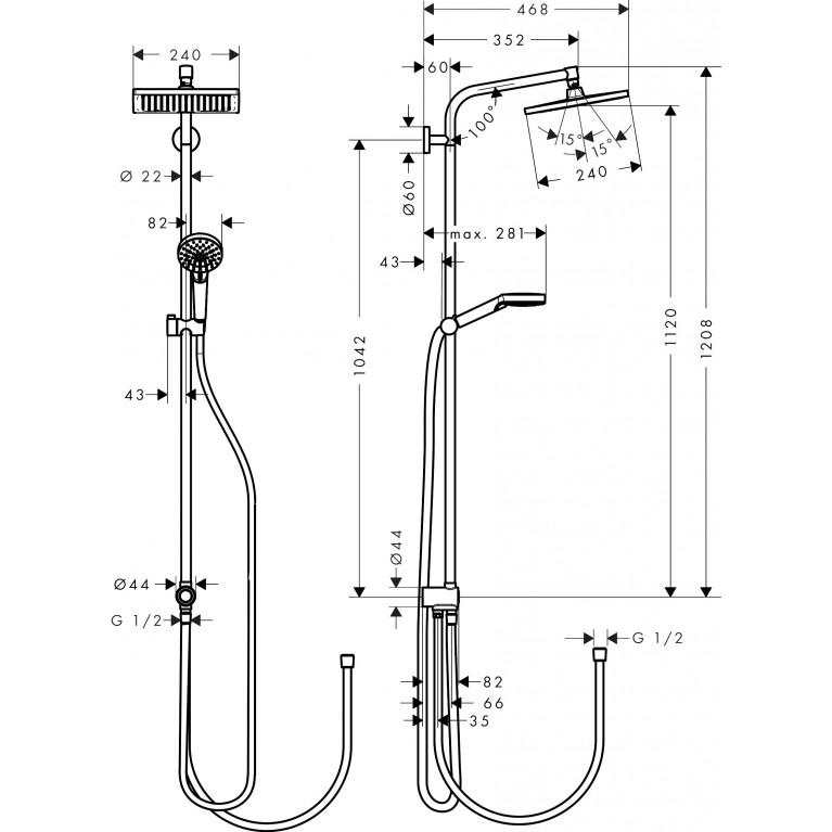 Crometta E Showerpipe 240 1jet Душевая система EcoSmart Reno 27289000, фото 3