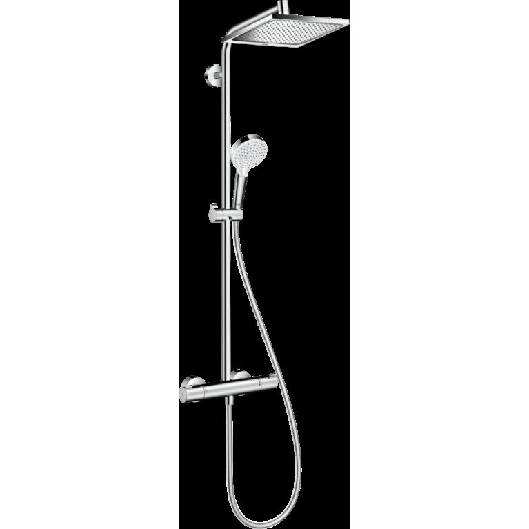 Crometta E 240 1jet Showerpipe Душевая система EcoSmart с термостатом, хром, фото 1