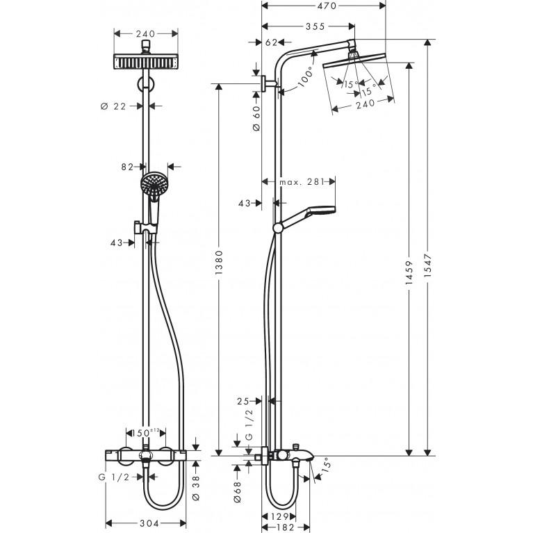 Crometta E Showerpipe 240 1jet с термостатом для ванны, хром 27298000, фото 3