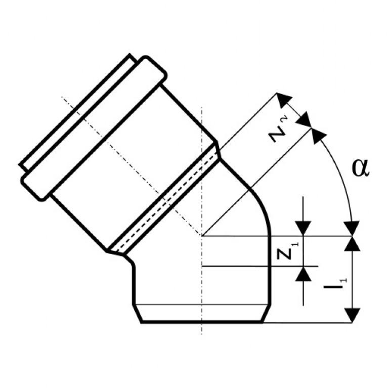 Отвод для наружной канализации Ostendorf KG Ду 200/45 223220, фото 2