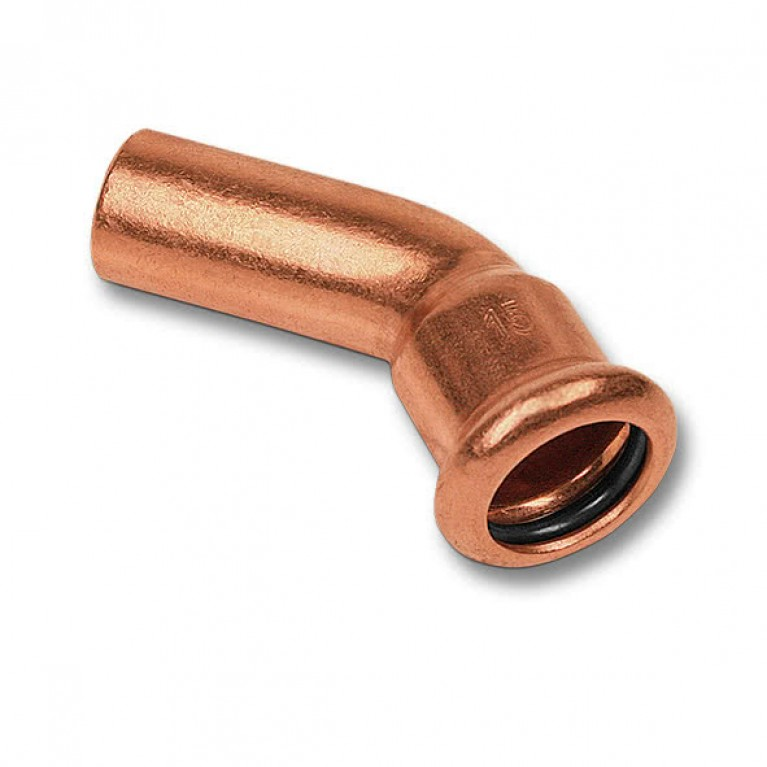 Колено-пресс Sanha однораструбное 45° медь, 15 тип 6040