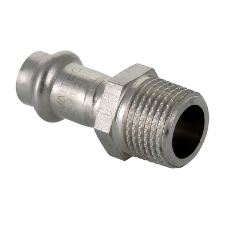 Пресс-фитинг из нержавеющей стали с наружной резьбой 15 мм х 1/2