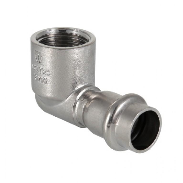 Пресс-угольник с внутренней резьбой Valtec нержавеющая сталь 15 мм х 1/2