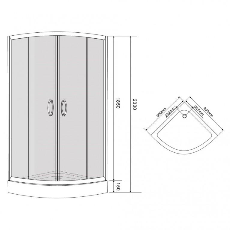 BALATON душ. кабина 90*90*200 см, акриловый поддон 15 см+Банное полотенце Егер 599-507+599-000, фото 2