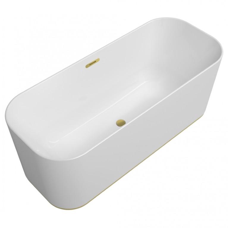 FINION ванна 170*70см, отдельностоящая, бесшовная, ф-ия Emotion, подсветка, оснащение золото, цвет ванны белый альпин, фото 1
