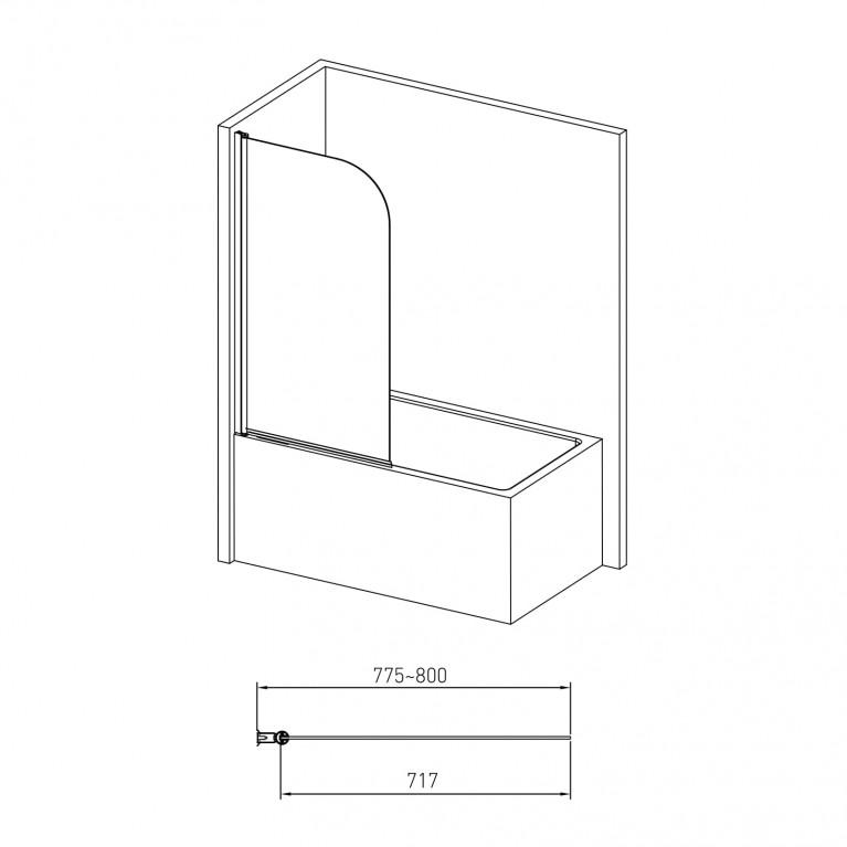 Штора на ванну односекционная 1400*800мм, поворот на 180°, прозрачное стекло 5мм 10-11-100, фото 2