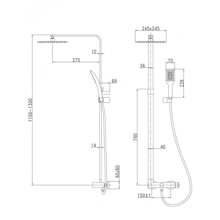 ODLOVE система душевая T-15300