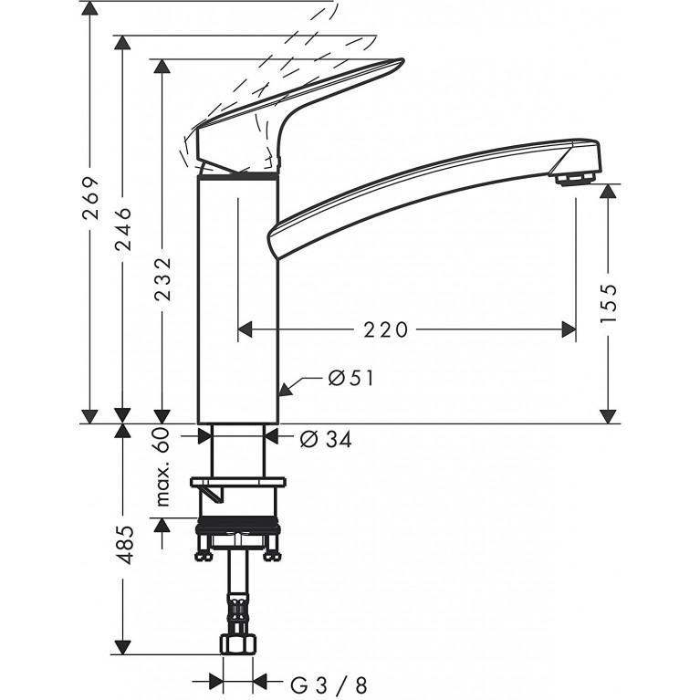 MySport M Смеситель для кухни, однорычажный (steel optic) 13861800, фото 2