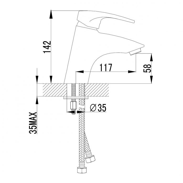 JESENIK смеситель для раковины, хром, 35 мм 05140