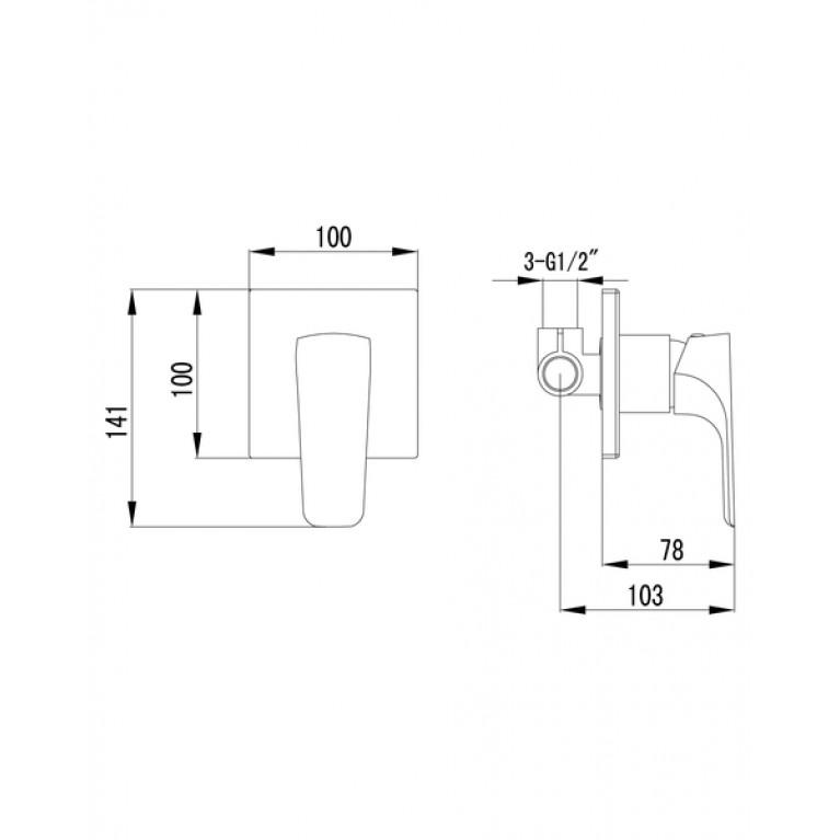 VALTICE  смеситель скрытого монтажа для душа VR-15320(Z), фото 2
