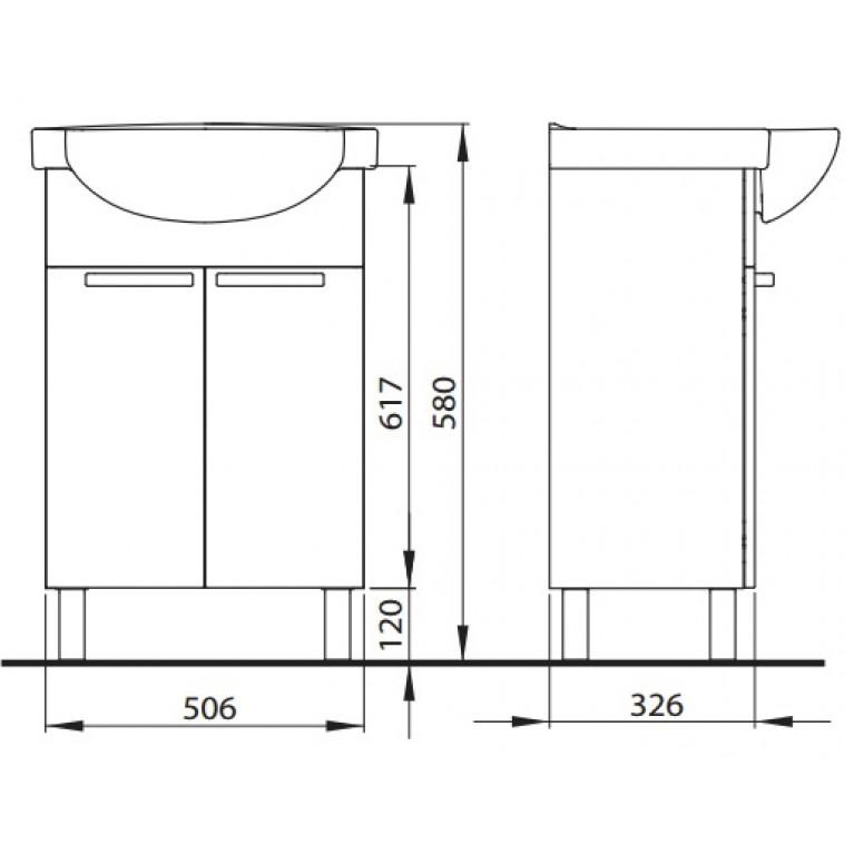 FREJA тумба под мебельный умывальник 55см, белый глянец 89474001, фото 2
