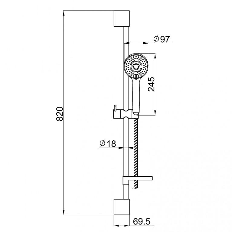 Штанга душевая DOBRANY L-82cm,мыльница,ручной душ 3 режима,шланг 1,5м с вращающимся конусом (Anti-Twist) 8210003, фото 2