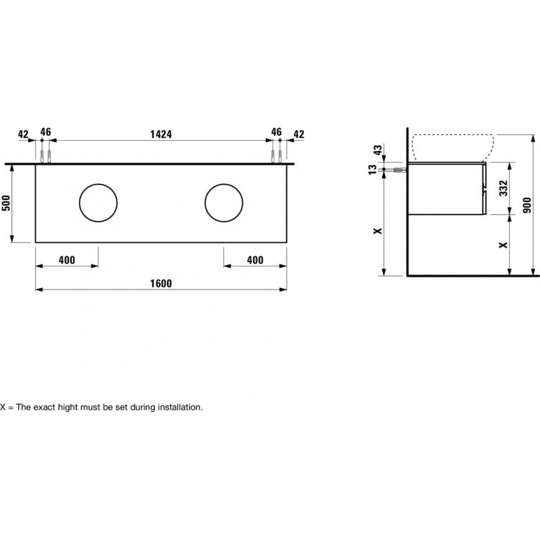 ALESSI ONE тумба 160*50*33,2см, с отв. для раковин справа и слева, с 4мя ящичками, белый глянец H4242240976311, фото 2