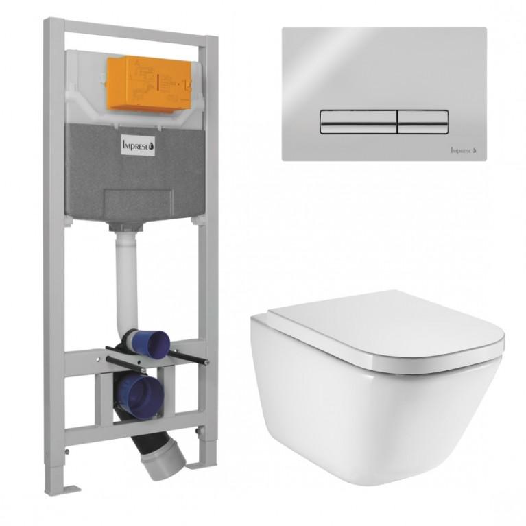 Комплект: GАР Rimless унитаз подвесной с сиденьем, комплект инсталляции