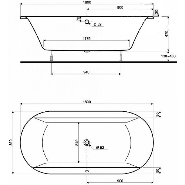CLARISSA ванна 180*85см, овальная, с ножками, без панели XWL2680000, фото 2
