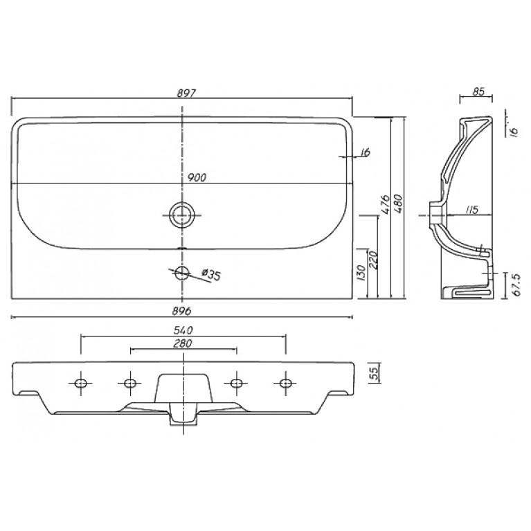 TRAFFIC умывальник мебельный 90*48 см с одним отверстием,с переливом (пол.) L91190000