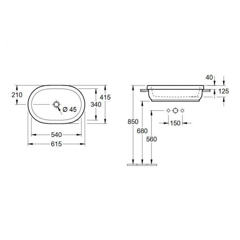 ARCHITECTURA умывальник для установки на столешницу 61,5*41,5см, овальный 41666001