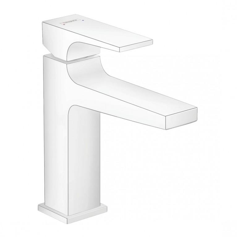 Metropol Смеситель для раковины 110, однорычажный, со сливным клапаном Push-Open, цвет матовый белый