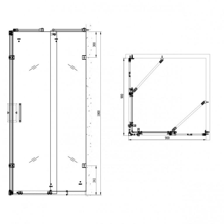 Душ кабина квадратная 90х90х1900 мм,стекло с узором TS-6360+10-22-905tray+10-22-905drai, фото 4