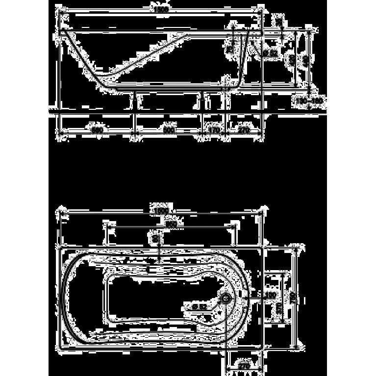 MIRRA ванна прямоугольная 150*75 см, с ножками SN0 и элементами крепления XWP3350000