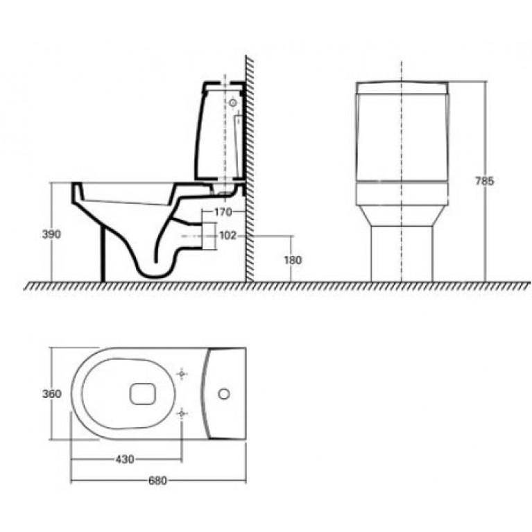 QUATTRO унитаз с универсальным сливом (пол.) K63200, фото 2