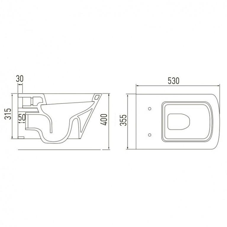 Комплект: TEO унитаз 53*35,5*40см подвесной, с сиденьем slow-closing +VOLLE MASTER Комплект инсталляции 4в1, хром клавиша 13-88-422+141515, фото 2