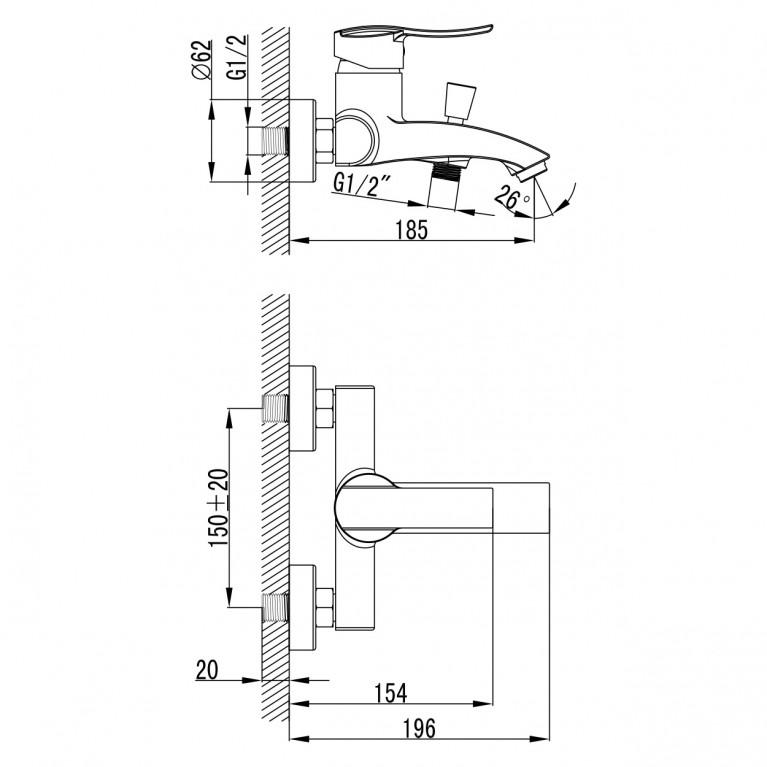 NOVA VLNA смеситель для ванны, 40 мм 10135, фото 2