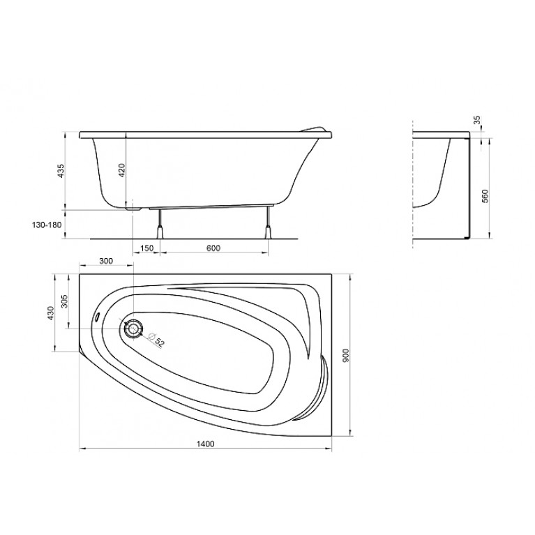 MYSTERY ванна асимметричная 140*90см правая XWA3740000, фото 2
