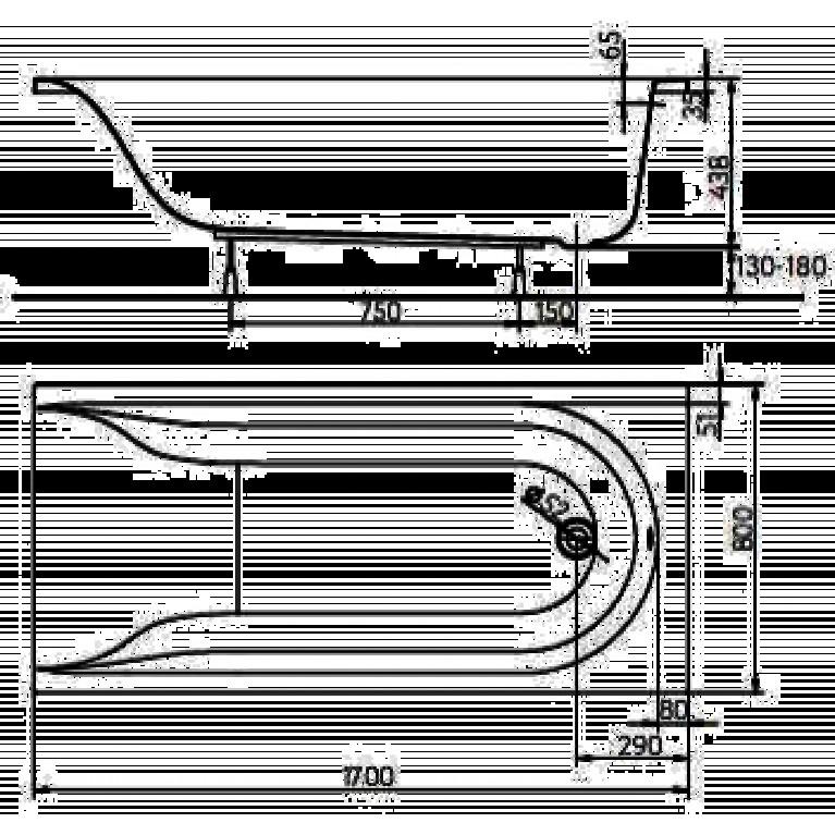 MIRRA ванна прямоугольная 170*80 см, с ножками SN0 и элементами крепления XWP3370000, фото 2