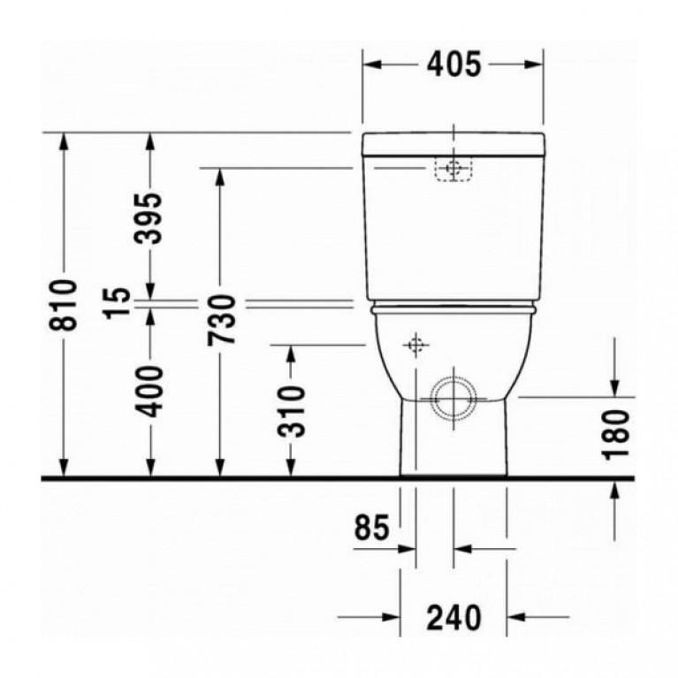 DARLING NEW бачок 40,5*16см, с механизмом двойного смыва, для подключения справа или слева 0931000005, фото 2