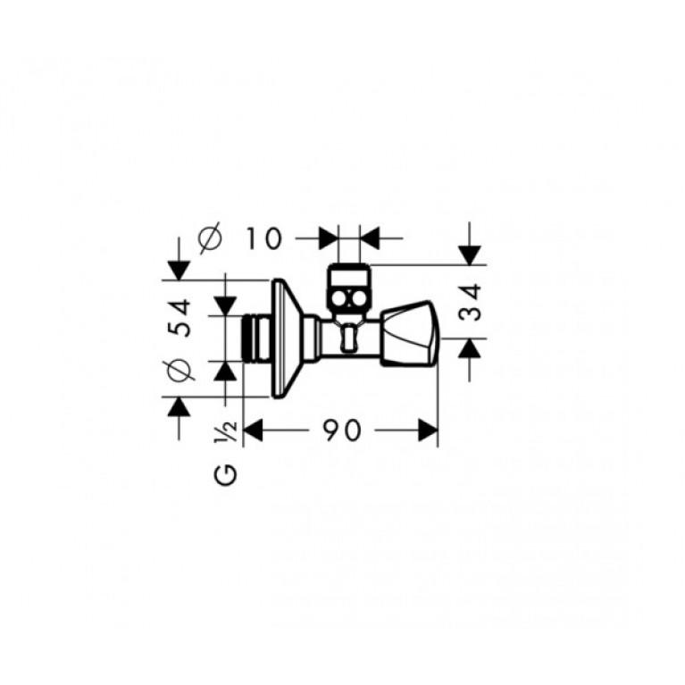 Hansgrohe Вентиль угловой Е, ½' , хром 13902000, фото 2