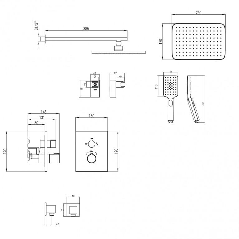 CENTRUM комплект для ванны/душа VR-50400, фото 2