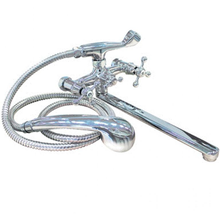 """TOBI смеситель д/ванной изл.35см (прямой)ручка""""kpecтики""""(1/2-90),cилymин,хpoм40мм,в компл.с душ.наб."""