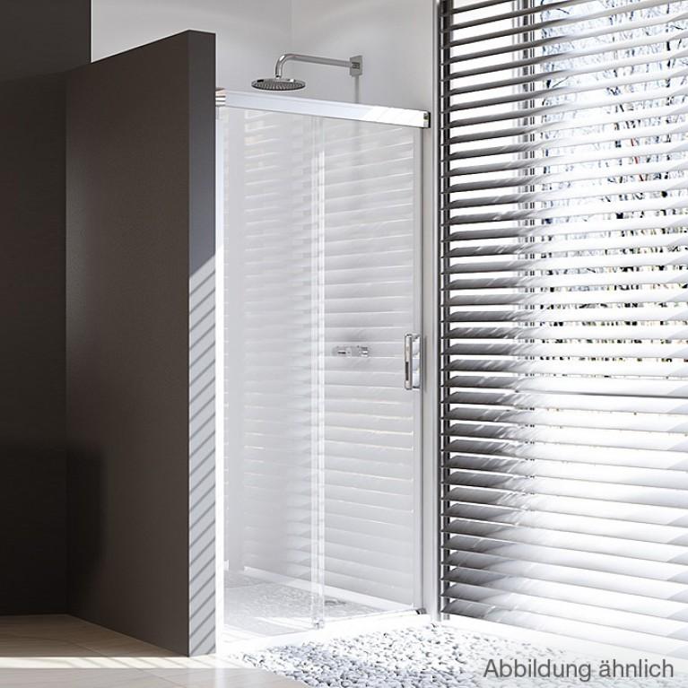 DESIGN ELEGANCE дверь односекционная раздвижная  с неподв сегментом 130*200см (проф гл хром, стекло прозр), фото 1