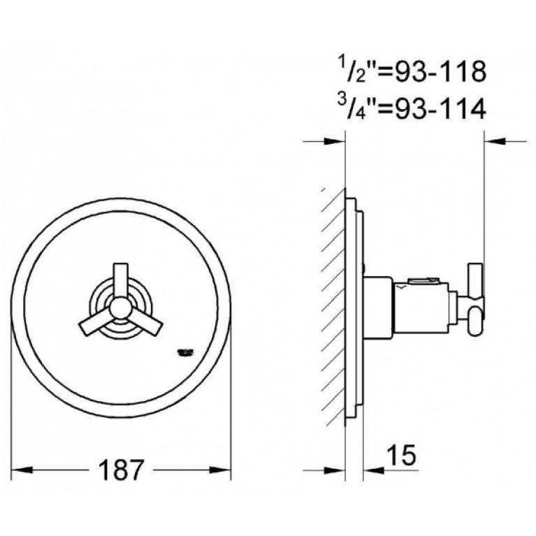 ATRIO-Центральный термотат  GROHE 19147000, хром 19147000, фото 2